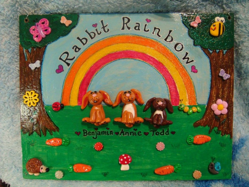 Large Rabbit Family Personalised Wooden Sign with Up to Any 4 Main Characters Garden Rainbow Theme 9.5 x 7.5